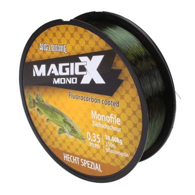 Angel Domäne Magic-X Mono Fluorocarbon Coated Hecht Spezial 350m 0,32mm, 350m - 0,32mm - pflanzengrün - 9,5kg