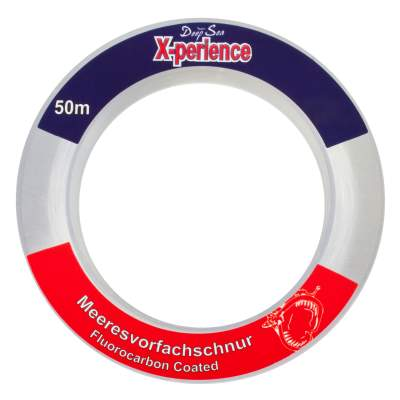 Team Deep Sea X-Perience Fluocarbon Coated Meeresvorfachschnur 50m 0,80mm 37,0Kg, 50m - 0,8mm - kristallklar - 37kg