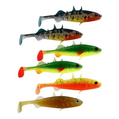 Westin Stanley the Stickleback Gummifisch, 7.5cm - Dark Water Mix - 4g - 6 Stück