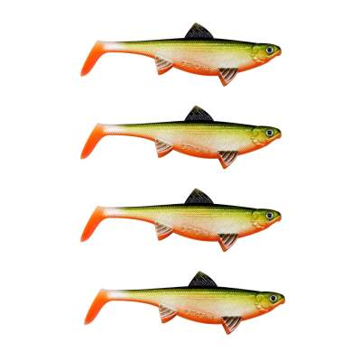 Senshu Real Fin Shad 8 - Orange Belly Gummifische, 8cm - 4g - 4 Stück