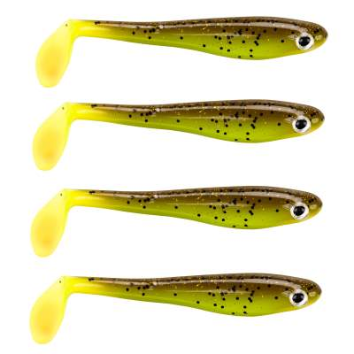 Berkley Hollow Belly Gummifische, 10cm - Brown Chartreuse - 7 Stück - 4 Stück