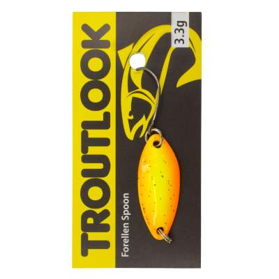 Troutlook Forellen Spoon Touch, 2,90cm - 3,3g - Yellow-Orange-Silver-Glitter UV
