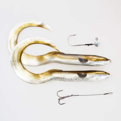 Savage Gear Real Eel (Loose Body), 2 Stück 20cm, 27g + 5g Jigkopf + Stinger, Olive Pearl
