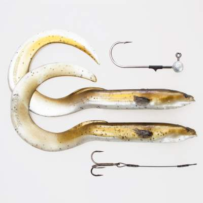 Savage Gear Real Eel (Loose Body), 2 Stück 30cm, 56g + 6g Jigkopf + Stinger, Olive Pearl