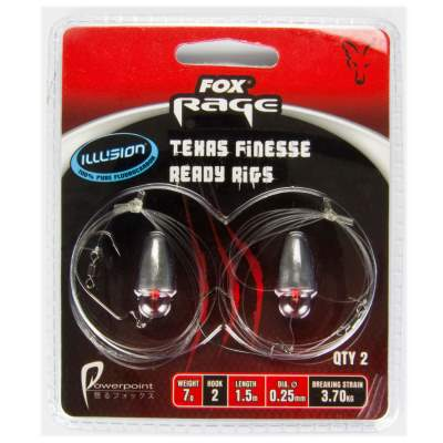 Fox Rage Texas Finesse  Flurocarbon 0.25mm  Ready Rig 1,5m  / 7g Bullet / Size 2