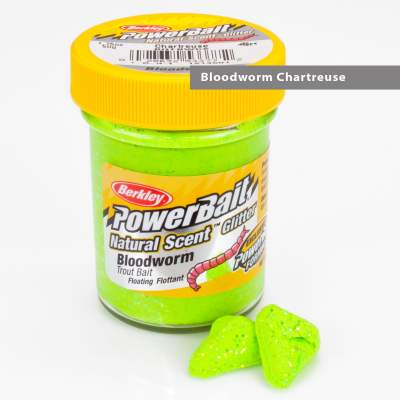Berkley Powerbait Natural Scent Trout Bait Glitter Bloodworm Chartreuse
