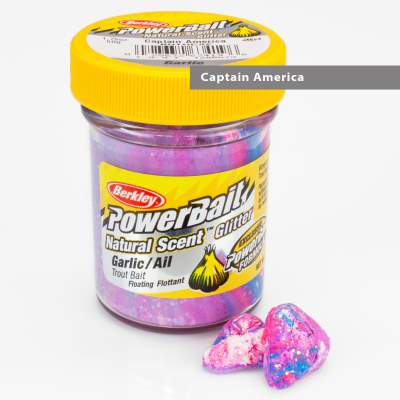 Berkley Powerbait Natural Scent Trout Bait Glitter Garlic Captain America
