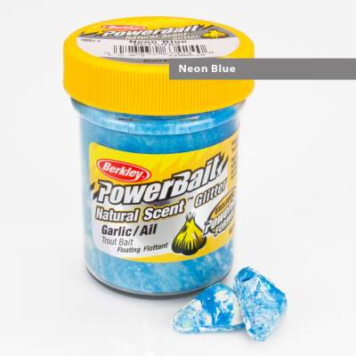 Berkley Powerbait Natural Scent Trout Bait Glitter Garlic Neon Blue