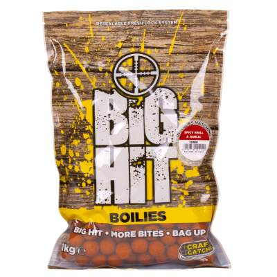 Crafty Catcher Big Hit Boilies 20mm 1kg + Pop Ups Spicy Krill & Garlic Boilie, Crafty Catcher Big Hit Boilies 20mm 2kg + Pop Ups Spicy Krill & Garlic