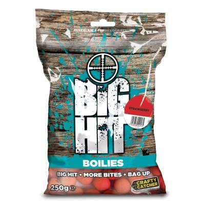 Crafty Catcher Big Hit Boilies 250g, 15mm - Wild Strawberry