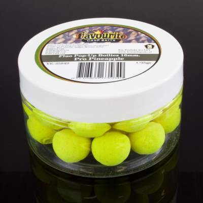 LFT Leonard Fishing Tackle Favourite Carp Fluo Pop-Up Boilies 16mm 35g Pro Pineapple