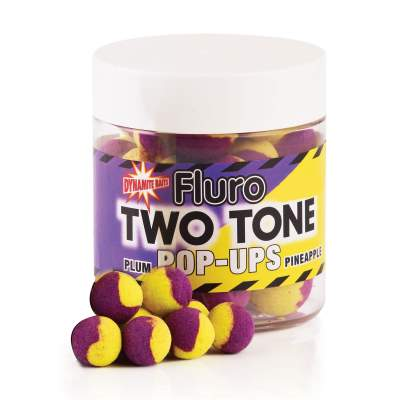 Dynamite Baits Plum- Pineapple Fluro Two Tone Pop- Up Boilies 15mm