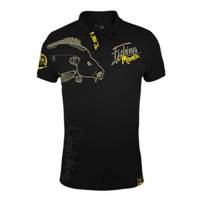 Hotspot Design Polo Fishing Mania Carpfishing Angelshirt, schwarz, XL
