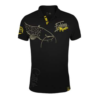 Hotspot Design Polo Fishing Mania CatFish, schwarz, XXL