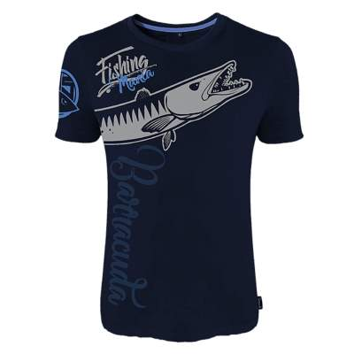 Hotspot Design T-Shirt Fishing Mania Barracuda Gr. XL, Gr. XL - blau