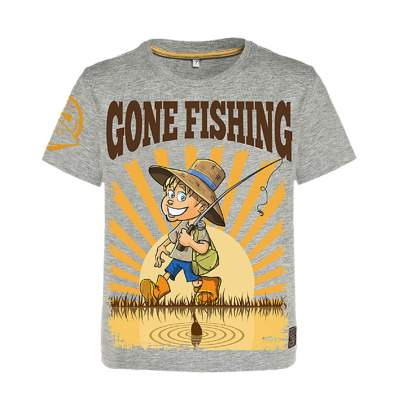 Hotspot Design T-Shirt children Gone Fishing - Gr. 9/11 years, Gr. 9/11 Jahre - grau melange