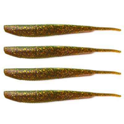 Angel Domäne Action Shad Pin-Tail, 14,5cm, Motoroil Glitter 4er Pack