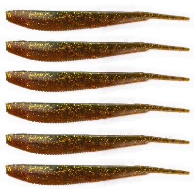 Angel Domäne Action Shad Pin-Tail, 12,5cm, Motoroil Goldglitter 6er Pack