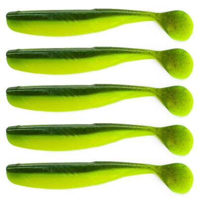 Angel Domäne Action Shad O-Tail, 10,5cm, Chartreuse Grün Black Pepper 5er Pack