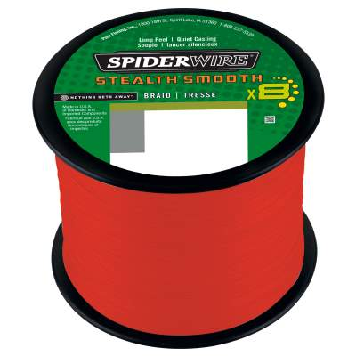 Spiderwire Stealth Smooth 8 Red Meterware Angelschnur, TK18kg - 0,19mm