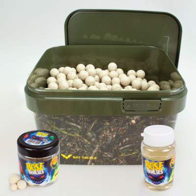 BAT-Tackle Sessionpack Böse Boilies 2,5Kg im Realistric® Eimer, 18mm White chocolate + Dip + Pop Ups