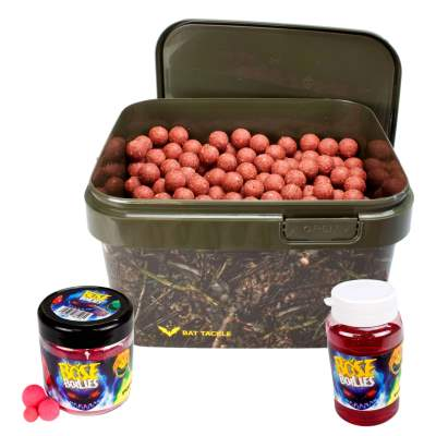 BAT-Tackle Sessionpack Böse Boilies 2,5Kg im Realistric® Eimer 18mm Angry Strawberry + Dip + Pop Ups