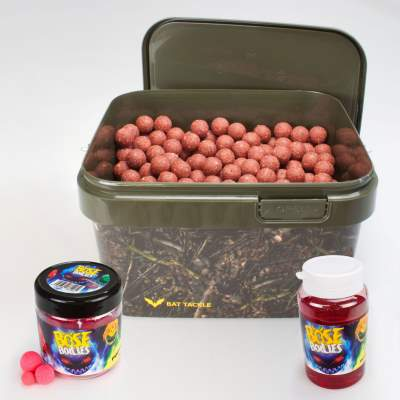 BAT-Tackle Sessionpack Böse Boilies 5,0Kg im Realistric® Eimer 18mm Angry Strawberry + Dip + Pop Ups