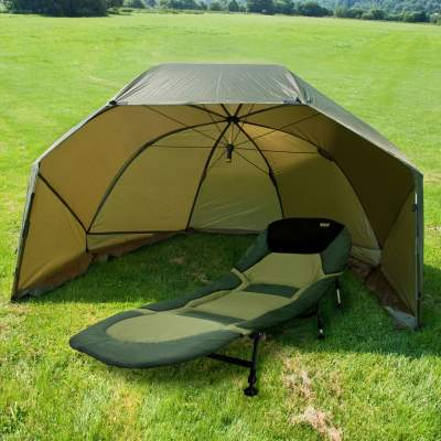 BAT-Tackle 60'' Oval Squat Brolly + Maxxlounge 6-Bein Karpfenliege Bundle