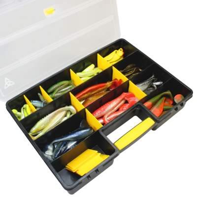 Box Sortiment Hecht Zander Dorsch Barsch Shads ca 85 Stück Gummifische inkl