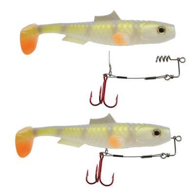 MT-Lures Pikezilla Hecht Shad 2 Stück 13cm UV Natural Perch + Stingersystem, MT-Lures Pikezilla Hecht Shad 2 Stück 13cm UV Natural Perch