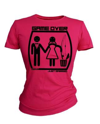 Hotspot Design Damen T-Shirt Game Over Just Married Gr. S