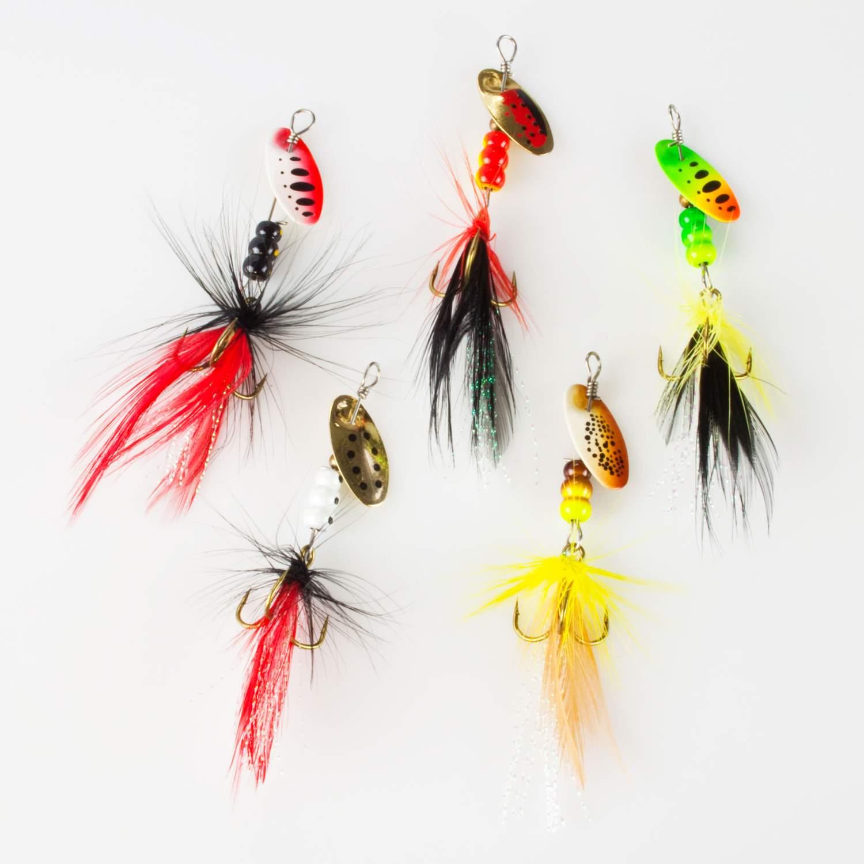 Spinner Set 5 Stück Classic mit Federn Raubfisch 2g//3g//6g//7g Forelle Barsch